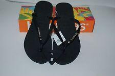 6f3c5b96be085 HAVAIANAS Genuine NEW Ladies Slim THONGS FLIP FLOPS BLACK SILVER LOGO  CRYSTAL