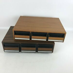 Set-of-2-Cassette-Tape-Storage-Drawer-Holder-Case-Wood-Grain-Vintage