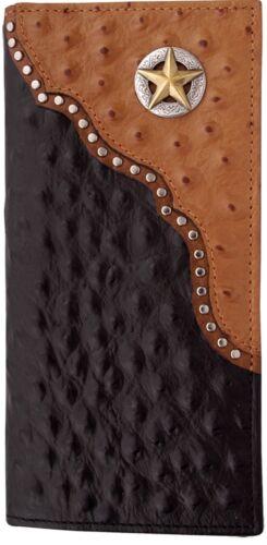 Western Men/'s Bi Fold Wallet 3D Tan//Black Ostrich Stamp Rodeo Reiner Cutter