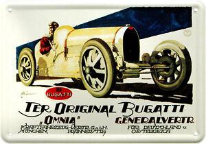 """Carte Postale en Tôle / Métal Original Bugatti """" Omnia """" Generalvertreter Munich"""