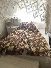 Vintage Victorian Shabby Cottage Chic Pink Roses - Brown Curtain Drape Panel 83""