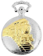 Taschenuhr Weiß Silber Gold Eisenbahn Zug Lok Metall Analog D-480812000051500