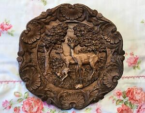 Vintage-Resin-Wood-look-Carved-Deer-Fawn-Family-3D-Plate-Wall-Hanging-Plaque-9