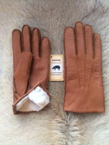 Men/'s winter  Peccary Leather Gloves with Rabbit fur lining Cognac Cork Black