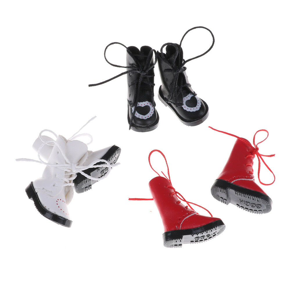 1Pair PU Leather 1//8 Doll Boots Shoes for BJD 1//6 Dolls Blythe Licca Jb DolBLIS