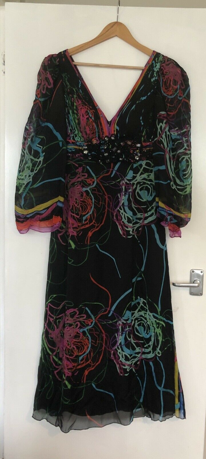Alberto Makali New York Couture Silk Dress Showstopper Sleeves Sleeves Sleeves Size 12 Ball Drag af9ecb