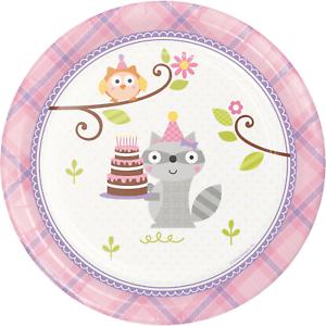 Birthday Woodland Pink Dessert Plates Party Raccoon Decoration Favor Supplies