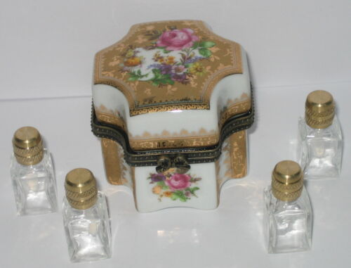 weiß gold Blumendekor Antik-Stil 6x5cm Porzellandose mit Glasflakon für Parfüm