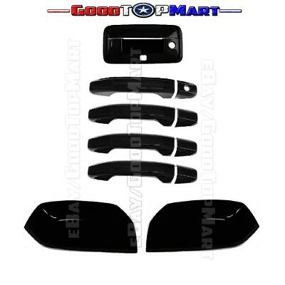 Fit 2014 15 16 17 18 CHEVY Silverado GMC Sierra Black Gloss handle Mirror Covers