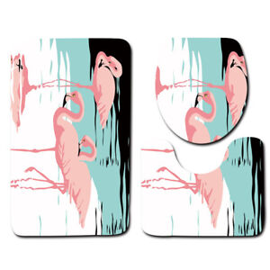 LE-3PCS-Set-Pink-Animal-Flamingo-Bathroom-Non-Slip-Rug-Lid-Toilet-Cover-Bath-Mat