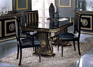 Image is loading VERSACE-STYLE-ITALIAN-HIGH-GLOSS-DINING-EXTENDING-TABLE- & VERSACE STYLE ITALIAN HIGH GLOSS DINING EXTENDING TABLE WITH 6 ...