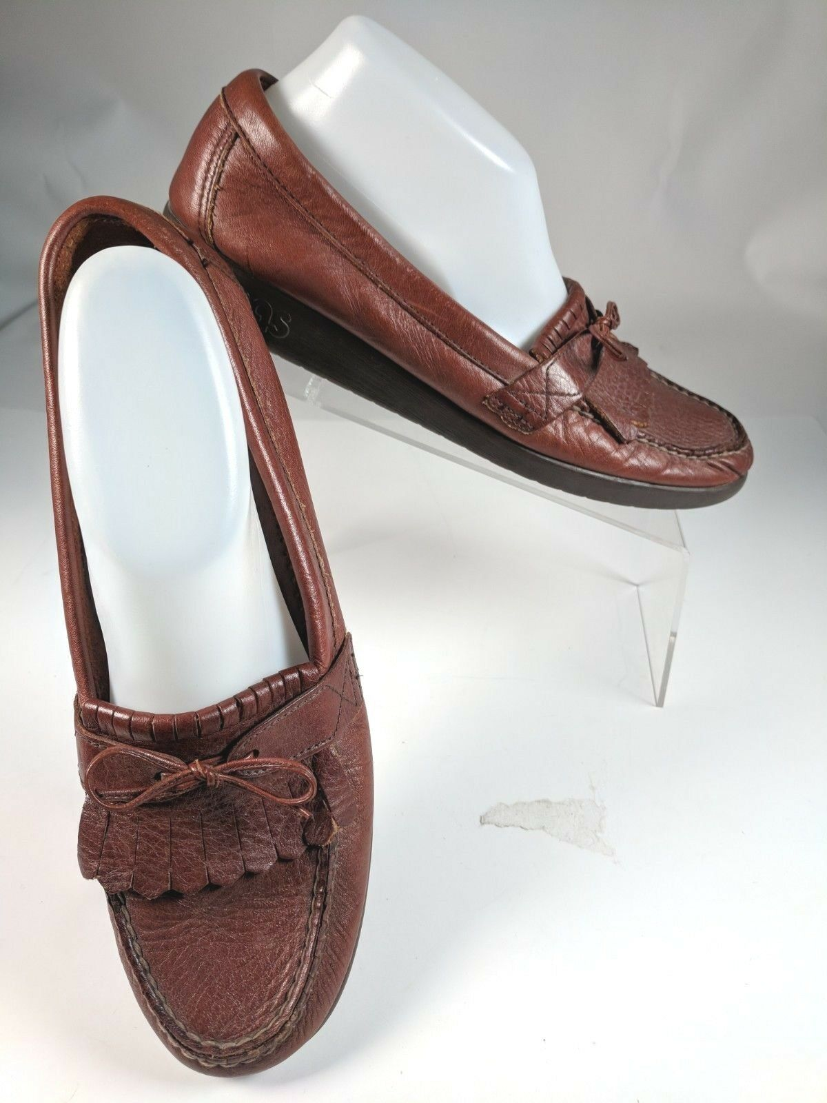 SAS Womens Brown Leather 10.5 10.5 10.5 S Narrow Breeze Bow Kiltie Fringe Moccasin Loafers d3bada