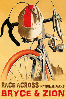 Bicycle Bike Cycle Riding Utah Road Tavel Tourism Vintage Poster Repro FREE S//H