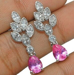 4CT-Pink-Sapphire-amp-Topaz-925-Solid-Sterling-Silver-Earrings-Jewelry-W-33