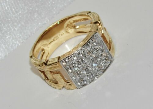 SIZE Q 9CT YELLOW GOLD ON SILVER 0.50ct MEN/'S CHUNKY CHAIN LINK RING