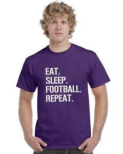 Eat-Sleep-Football-Repeat-Kids-T-Shirt-Footy-Tee-Top-Ages-3-13
