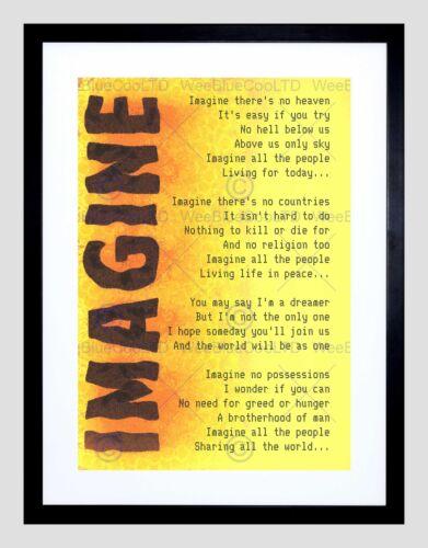 IMAGINE MUSIC JOHN LENNON LYRICS MOTIVATION TYPOGRAPHY QUOTE ART PRINT B12X13925