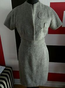 Classic Jacket W Skirt Short Sz Women's Grey Rare Wool 6 Dress Pencil Alpacca 8 fqwxSRnd0