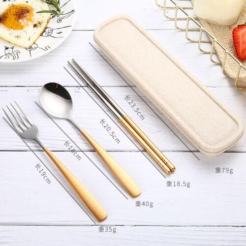 3pcs//set Spoon Fork Chopsticks Stainless Steel Travel Cutlery Tableware Box Sale