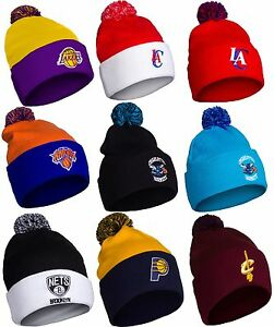Image is loading NBA-Basketball-Teams-Winter-Knit-Pom-Pom-Beanie- b380778519e