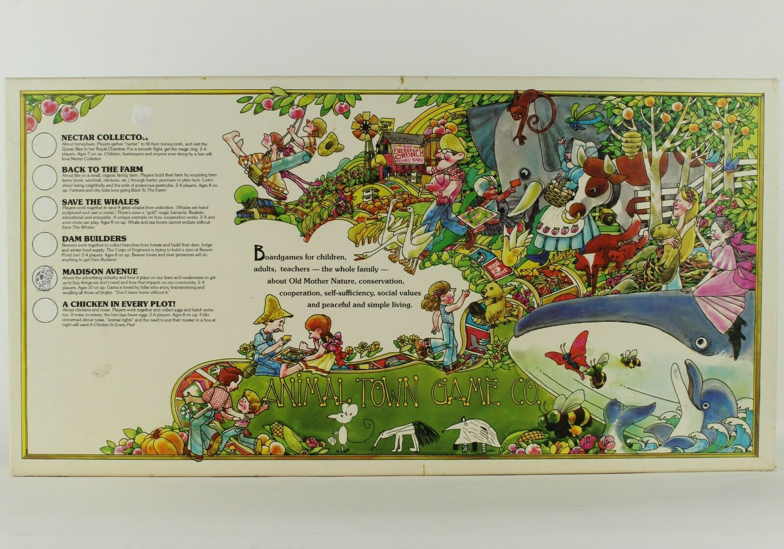 MADISON AVENUE (Reverse-It ) Board Game (1980, Animal Town) Like Save The Whales