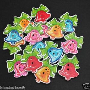 30-WOODEN-CHRISTMAS-BELL-BUTTONS-XMAS-CRAFT-SCRAPBOOK-SEWING-CARDS