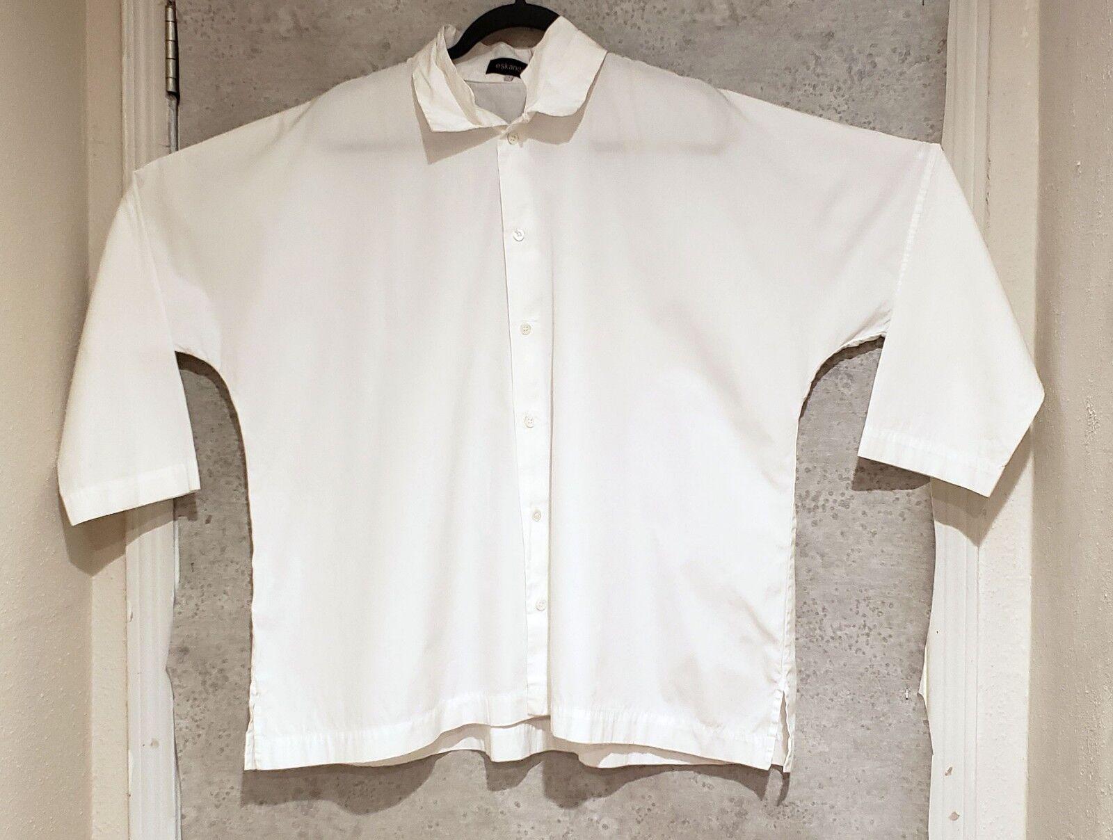 Eskandar Double collar White button down Boxy shirt 100% Cotton