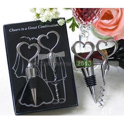 Love Heart Corkscrew Bottle Opener Set Wine Bottle Stopper Wedding Gift Decor