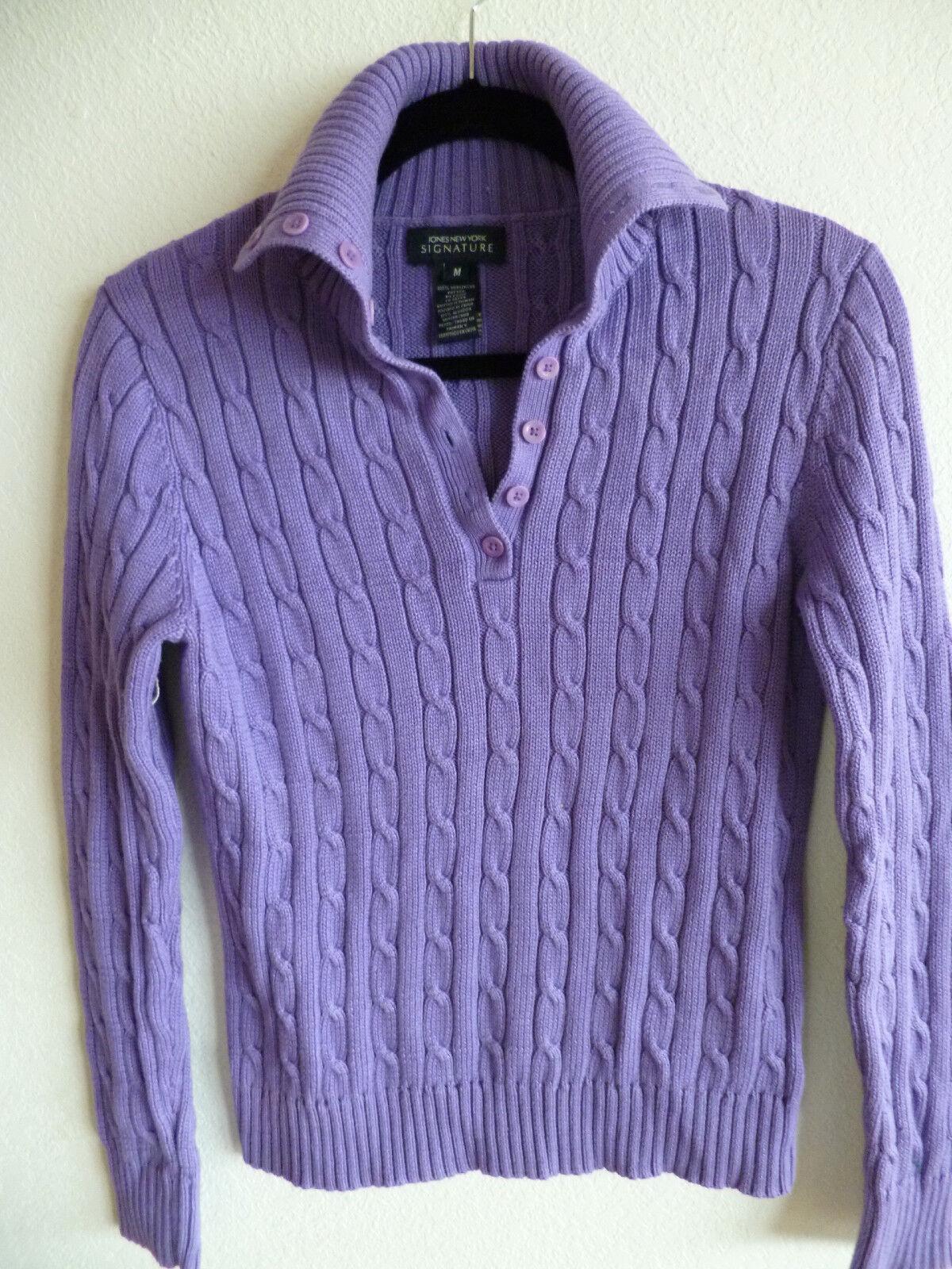 Jones NY Signature  Cotton Purple Cable Knit Sweater w  Collar  M