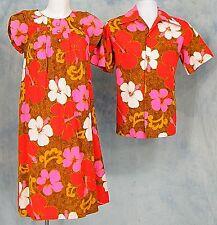 70s VtG TiKi HAWAiiAN LUAU HiS HERs BARKCLOTH WEDDiNG SET LOOP SHiRT & DRESS S/M