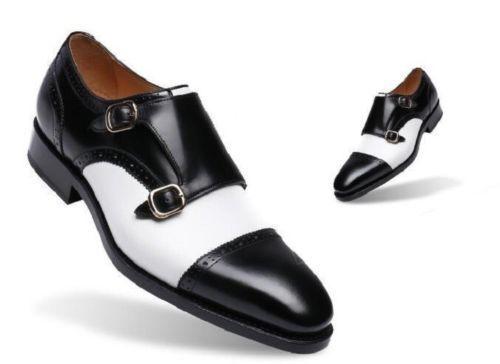 Zapatos de Cuero para Hombre Hombre para Hecho a Mano Monje Blanco y Negro dos tonos de Formal Zapatos De Correa 484d2f