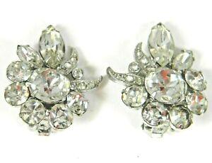Vintage-Eisenberg-Ice-Rhinestone-Clip-Earrings-Signed-Clear-Crystal-Swarovski