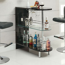 Black 2 Shelf  Bar Table Furniture Home Living Pub Game Room Dining Kitchen Rack