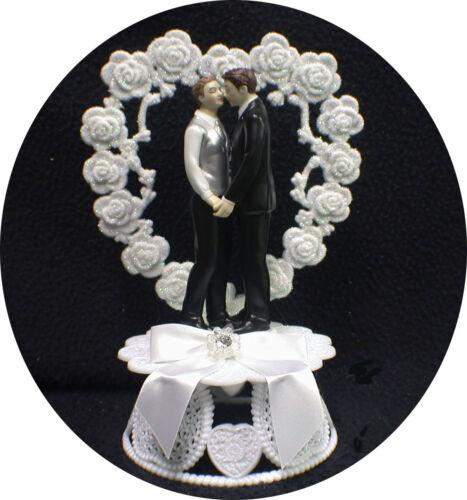 Mr /& Mr 2 Grooms Gay Life Partner Wedding Cake Topper Romantic  top