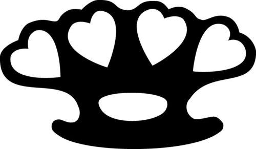 Choose Size /& Color Heart Brass Knuckles Girl Vinyl Sticker Decal