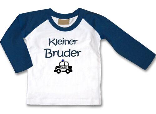Wunschname Weiß//Dunkelblau Größe Wahl: Motiv Baby LA-Shirt Kleiner Bruder