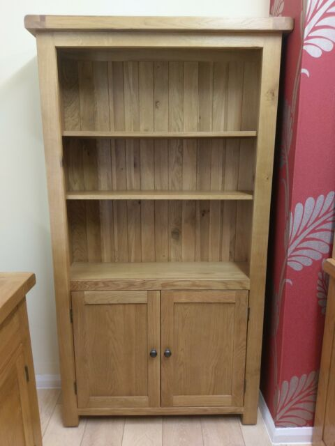 Kingsford Solid Oak Large Wide Bookcase Bookshelf Highboard 100cm 30cm 180cm