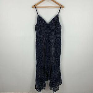 Shona-Joy-Dress-Womens-14-Blue-Lace-Sleeveless-V-Neck-Zip-Closure-Maxi