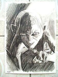 A4 dessin au fusain dessin seigneur des anneaux hobbit - Dessin seigneur des anneaux ...