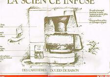 PUBLICITE ADVERTISING 094  1979  KRUPS   cafetière éléctrique ( 2 pages)