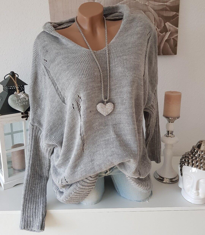 Knitted jumper oversize jumper Destroyed Vintage 44 46 48 50 Hood Grey Mottled