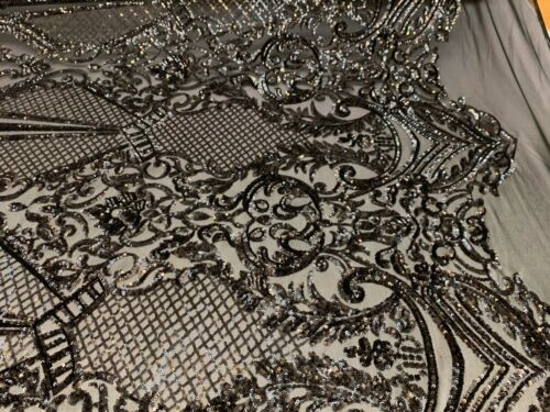 By Yard// 4 Way Stretch Sequins Fabric//Embroider Mesh Lace Geometric// Black Lace