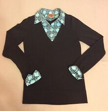 Tory Burch Brown Detachable Collar Career Convertible Wool Sweater Small V Neck