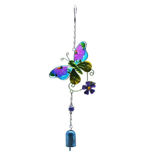 Glass Butterfly Ladybug Bell Pendant Wind Chime Home Garden Door Wall Decor