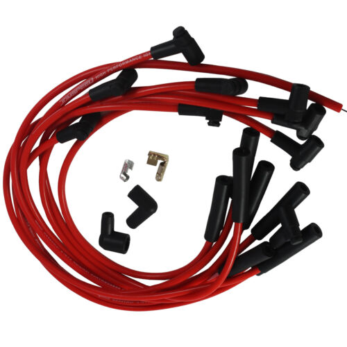Big Block Red Spark Plug Wires JDMSPEED BBC Chevy 454 HEI STR Over Valve Cover