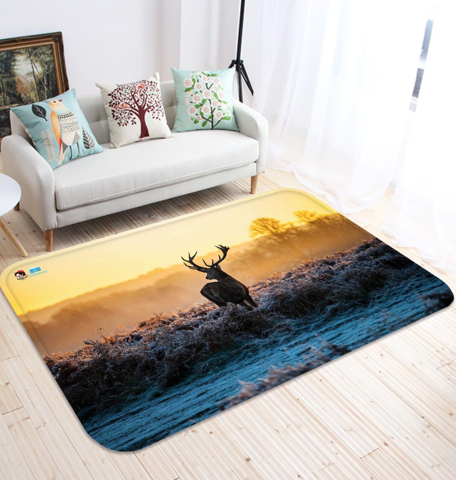 3D Dusk erbose Elk 68 tappetino antiscivolo tappeto camera Tappetino Qualità Elegante foto Tappeto UK
