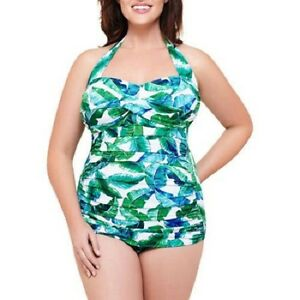 9d6f5dd392 Details about Catalina Simply Slim Women's Slimming Shirred Halter One-Piece  Swimsuit