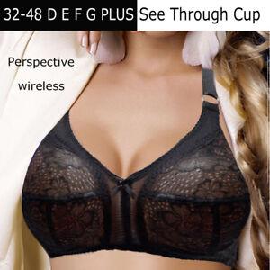 b90914e22beac Womens Plus Size Lace Bra Non Padded Wire Free Brassiere 34-48 ...