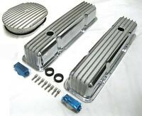58-86 Sbc Chevy Tall Polished Aluminum Finned Valve Covers & 12 Air Cleaner Kit