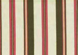 Waverly Fabric Parallel Pink Brown Cotton Stripe Drapery